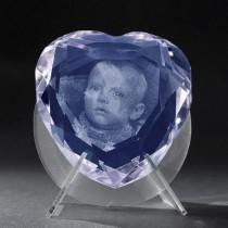 2D Foto in Glas. 3D Kristall Herz Blau mit 2D Laser Foto von Ihrem Bild