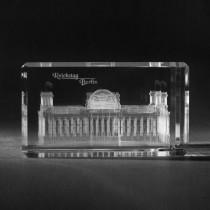 3D Berliner Reichstag in Kristall Glas gelasert, 3D Lasermotive, Gebäude