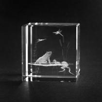 3D Frösche Frosch Motiv in Kristallglas gelasert. Tiere als 3D Laserglas