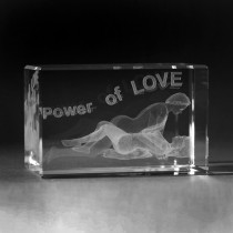 3D Lasergravur in Glas. Power of Love by 3D Crystal