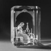 3D Crystal Motiv in Glas: Märchen, Dornröschen in Kristallglas gelasert