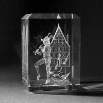 3D Crystal Motiv in Glas: Märchen, Rattenfänger von Hameln in Kristallglas gelasert