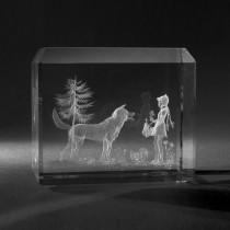 3D Crystal Motiv in Glas: Märchen, Rotkäppchen in Kristallglas gelasert