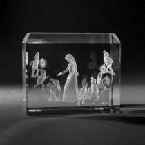 3D Crystal Motiv in Glas: Märchen, Schneewittchen und 7 Zwerge in Kristallglas gelasert