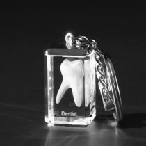 Schlüsselanhänger mit 3D Zahn Dentist. Zahnmodell in Kristallglas gelasert