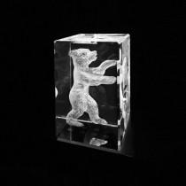 3D Crystal Berliner Bär in Kristall Glas gelasert, 3D Glasmotiv Berlin Souvenir