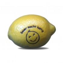 Logo Obst. Zitrone mit Logo graviert. Lasergavur auf Zitrusfrüchte