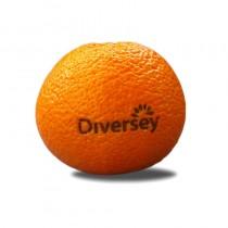 Logo auf Obst, Mandarine mit Lasergravur. Früchte als Werbung