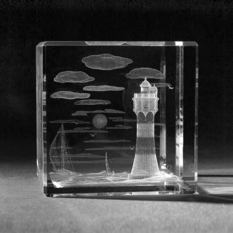 3d geb ude leuchtturm roter sand in kristallglas 3d - 3d kristall foto ...