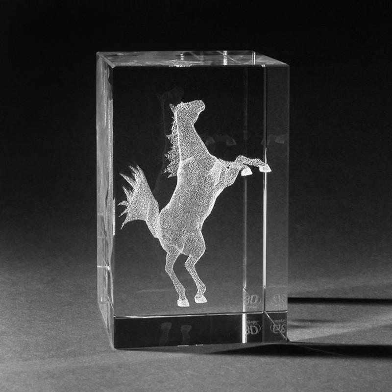 3D Tiere - 3D Steigendes Pferd in Kristallglas gelasert – 3D Crystal