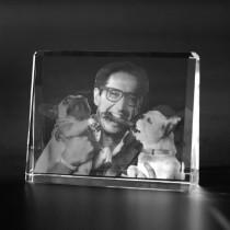 2D Laserbild, Glasfoto in Kristallglas gelasert. Bildaufsteller Photoframe Groß aus Glas
