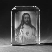 2D Glasfoto Jesus mit Herz - Grüner Laser Products Laserbeschriftungen
