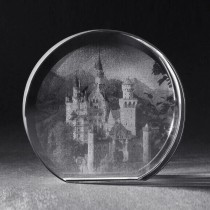 2D Schloss Neuschwanstein in Kristall Glas Mirror gelasert, 3D Crystal Gebäude Lasermotive