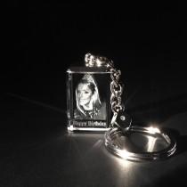 2D Portrait Laser Foto im Kristall Schlüsselanhänger Glasbild