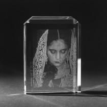 2D Laserfoto Glasfoto in Menora aus Kristallglas, Portrait von 3D Crystal