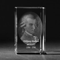 3D Wolfgang Amadeus Mozart als 2D Glasfoto, Laser Portrait von 3D Crystal in Kristall Glas