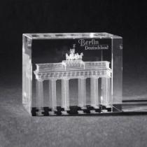 3D Crystal Gebäude und Souvenir, Brandenburger Tor in Kristall Glas gelasert, 3D Lasermotive