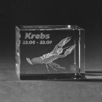 3D Crystal Motiv Sternzeichen Krebs in Glas gelasert