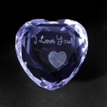 3D Crystal Liebe Kristallherz Blau aus Glas mit 3D Motiv I Love You