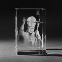 3D Papst Johannes Paul II in Kristall Glas gelasert