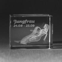 3D Crystal Motiv Sternzeichen Jungfrau in Glas gelasert