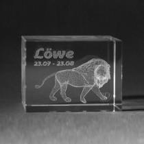 3D Crystal Motiv Sternzeichen Löwe in Glas gelasert