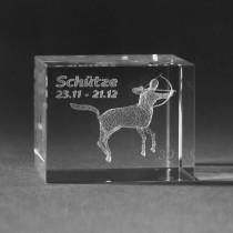 3D Crystal Motiv Sternzeichen Schütze in Glas gelasert