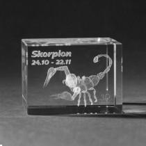 3D Crystal Motiv Sternzeichen Skorpion in Glas gelasert