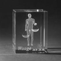 3D Crystal Motiv Sternzeichen Waage in Glas gelasert