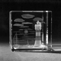3D Laser Motiv in Kristall Glas,Leuchtturm Roter Sand, 3D Crystal Gebäude und Souvenir