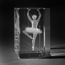 3D Lasergravur in Kristall. Sportmotive: Ballerina