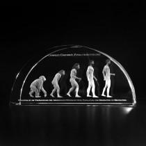 3D Lasergravur in Glas. Evolutionstheorie nach Charles Darwin