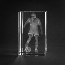 3D Laserglas mit Gravur im Kristall: Fussballspieler
