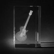 3D Motiv Musikinstrument in Glas gelasert. E-Gitarre in Kristallglas