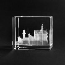 3D Schloss Neuschwanstein in Glas lasergraviert. Gebäude in Glaswürfel von 3D Crystal