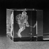 3D Lasergravur in Kristall Glas: Eishockeyspieler