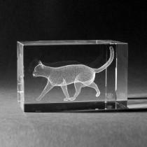 3D Crystal Motiv Katze in Kristall Glas gelasert
