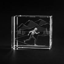 3D Glas Lasergravur. Sport Motiv Skilangläufer