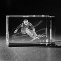 3D Glas mit Lasergravur Snowboardfahrer