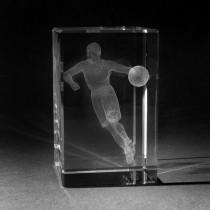 3D Laserglas mit Motiv Basketballspieler graviert
