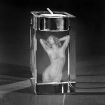 3D Lasergravur von 3D Kristall. Venus in Glas gelasert