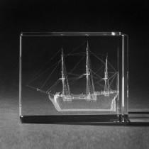 3D Lasergravur Schiff Dreimaster in 3D Kirstall Glas