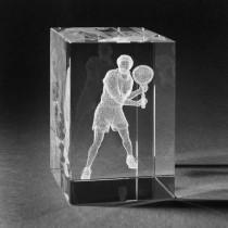 3D Laserglas Motiv Tennis. Tennisspieler in Kristall gelasert
