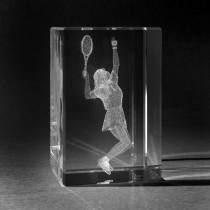 3D Laserglas Motiv Tennis. Tennisspielerin in Kristall gelasert