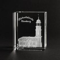D Michaeliskirche Hamburg in Glas gelasert. 3D Gebäude. Hamburger Souvenir und Geschenkidee
