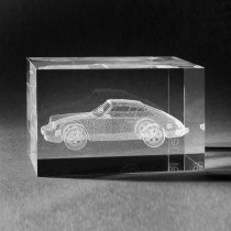 3D Laserglas mit Auto Porsche Targa. 3D Kristall Motive