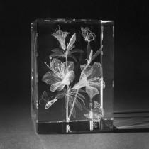 3D Blume Azalee in Kristall Glas gelasert. 3D Crystal Natur Motiv