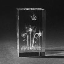 3D Frühlingsblumes in Kristall Glas gelasert. 3D Crystal Natur Motive