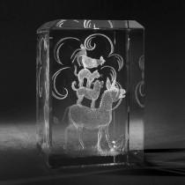 3D Crystal Motiv in Glas: Märchen, Bremer Stadtmusikanten in Kristallglas gelasert
