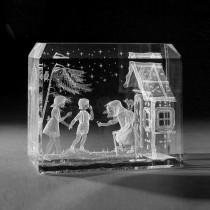 3D Crystal Motiv in Glas: Märchen, Hänsel und Grettel in Kristallglas gelasert